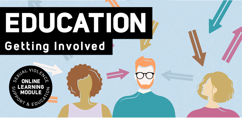 Illustration of three people surrounded by arrows and text that reads Education: Getting Involved