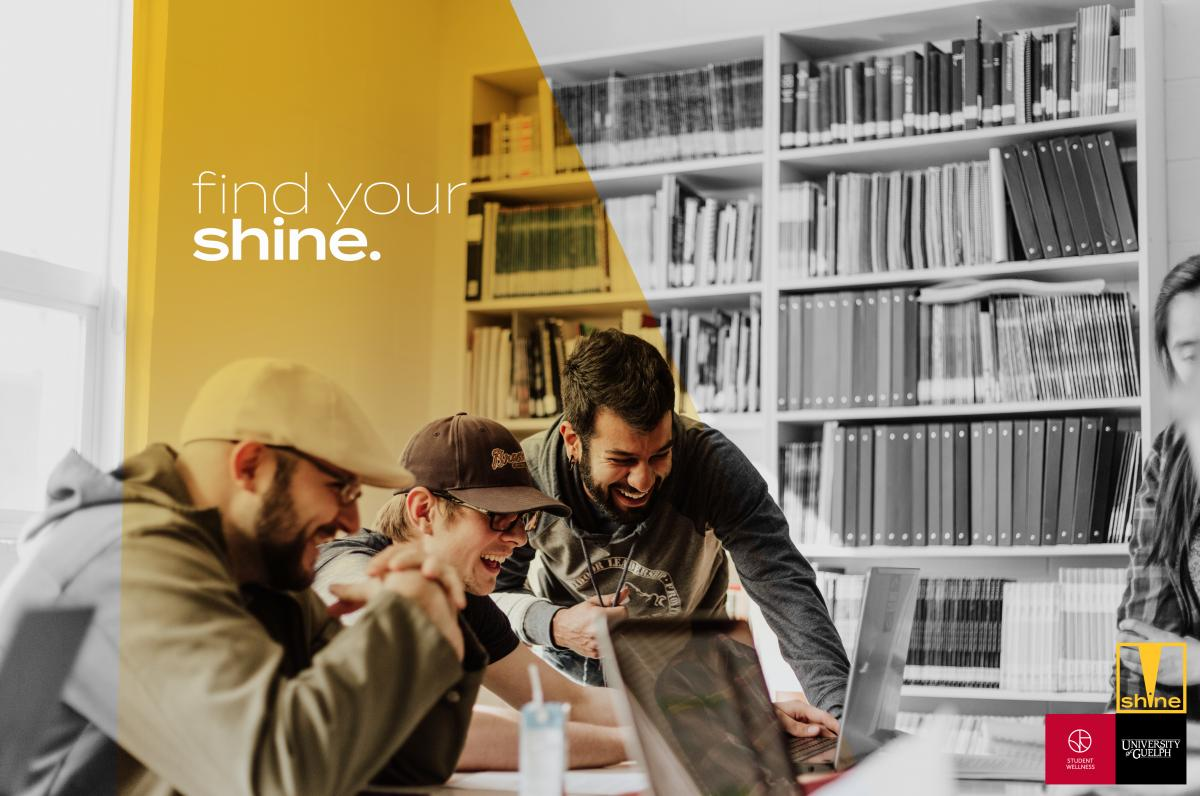 Group of students in the library with a yellow spotlight on them and the text find your shine