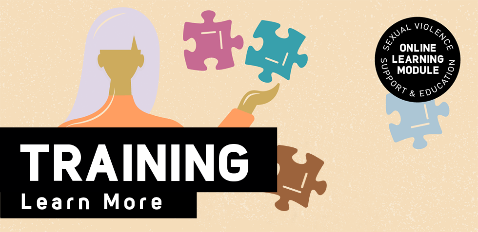 Illustration of a woman surrounded by puzzle pieces and text that reads Training: Learn More