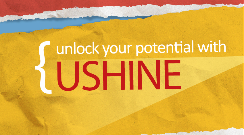 'unlock your potential with USHINE' - words over image of ripped paper in red, blue and yellow
