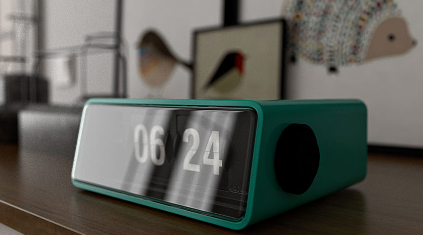 Alarm clock showing time of 06:24.
